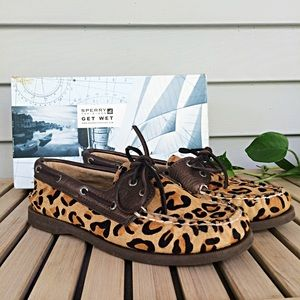 Worn Once- Sperry Top Sider Leopard Boat Shoes